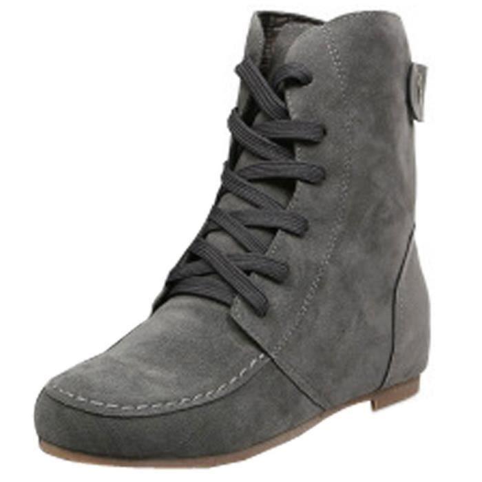Fourrure Hiver Bottes De Chaussures Neige Laçage Cheville À Lacets Minetom Femmes Automne Chaudes Bottines Plates EqAxZT8