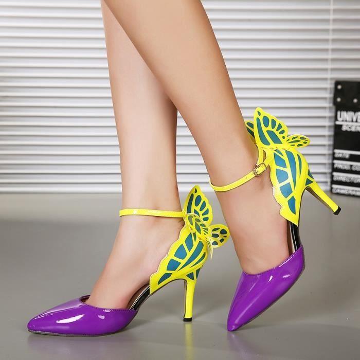2017 talons de mariage de la personnalité européenne femmes haut papillon coloré sandales à talons pompes arc chaussures de soirée