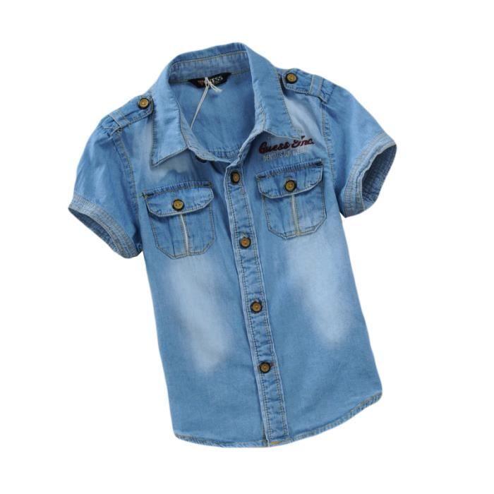 61b222cfd7bf7 Chemise Jean Garçon Enfant Manches Courte Vêtements Mi Saison Enfant ...