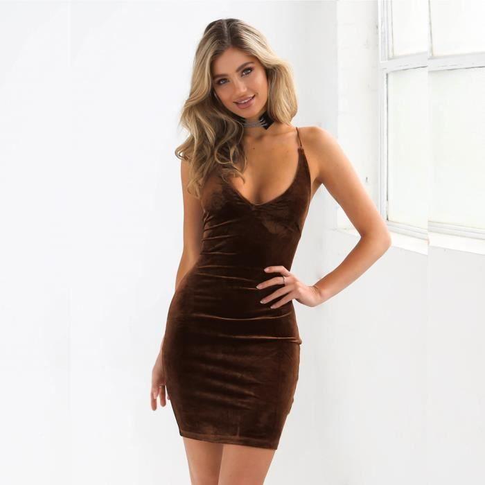 1aaa6b57f50 Lafayestore® Robe moulante sans manches en velours dos nu pour femme ...