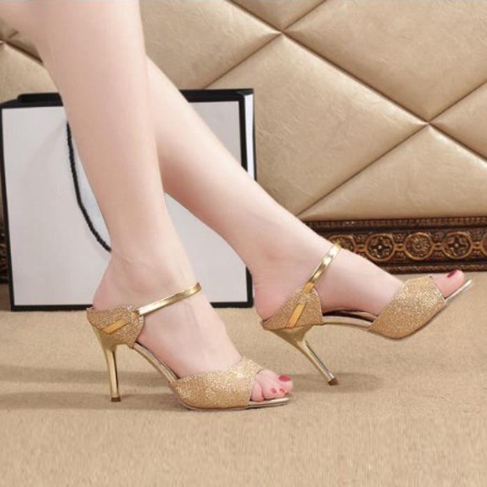 SANDALE - NU-PIEDS Mode femmes dames sandales cheville talons hauts B