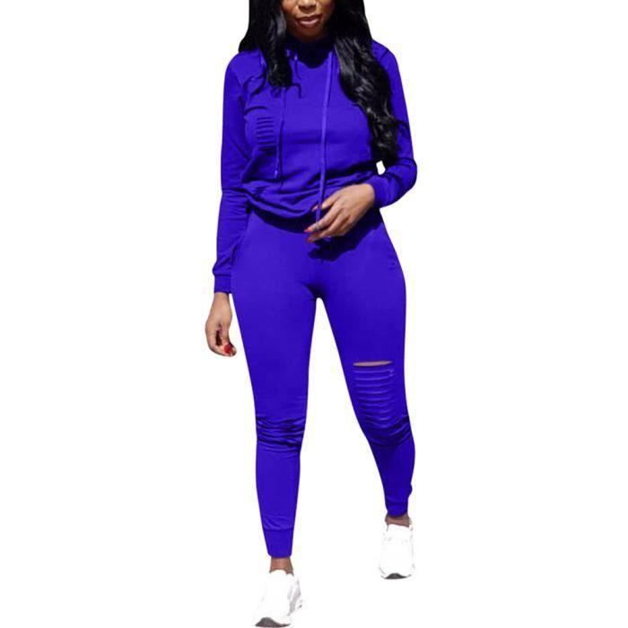 Minetom Femmes Jogging Yoga Gym Survêtement Manches Longues Sweat-Shirt à  Capuche et Pantalon Déchiqueté Ensemble Tenue de Sport 18af6fd9e7b