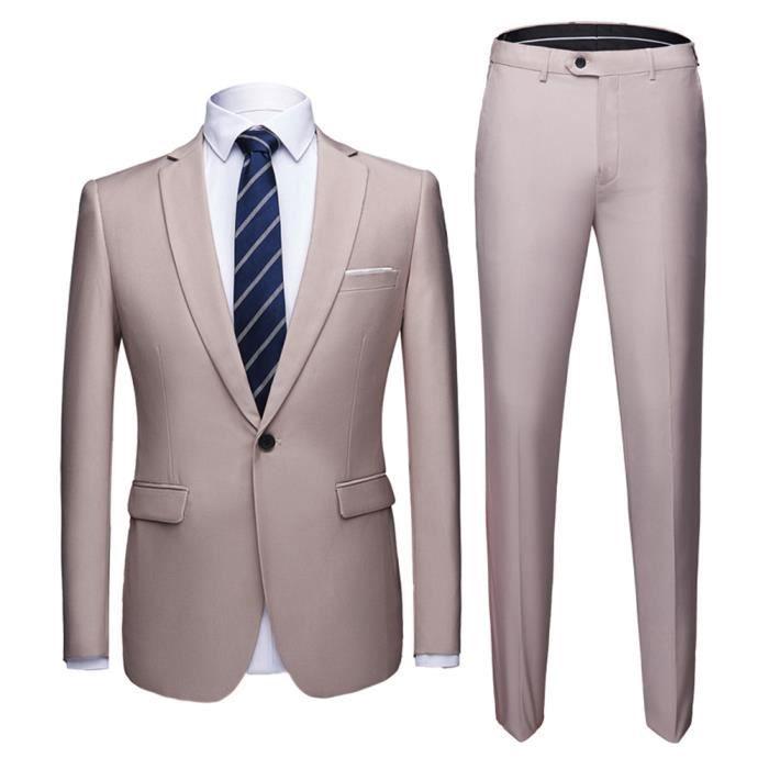 VêtementvestePantalonEnsemble De Homme 2 Officiel Couleur Costume Classique Pure Revers Business Blazer Pièces T31lFKJc