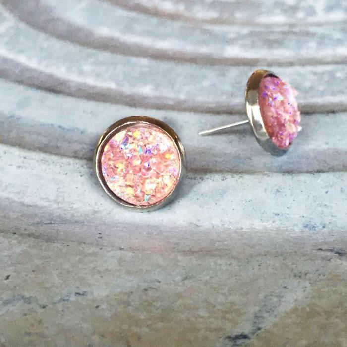 Druzy Faux Rose Rose Femmes ton argent 10mm Boucles doreilles FV5Y1