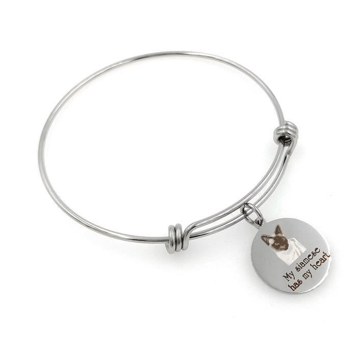 Les femmes de mon siamois a mon coeur Gravé Bracelet extensible ZOQFR
