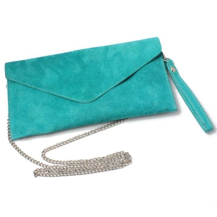 Enveloppe Turquoise En Daim Sac Dembrayage De Soirée Des Femmes KGODJ