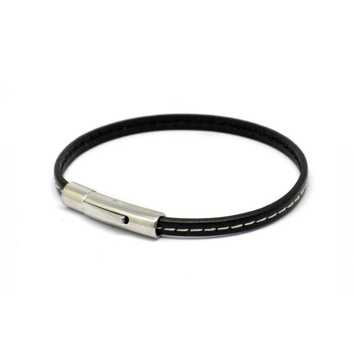 Bracelet Declic Single Piqué Noir M - Magnum