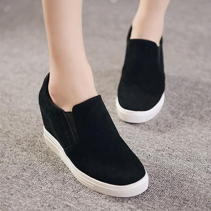 chaussures de skate-Pure Color Heighten Round Toe Chaussures de skate de la femme