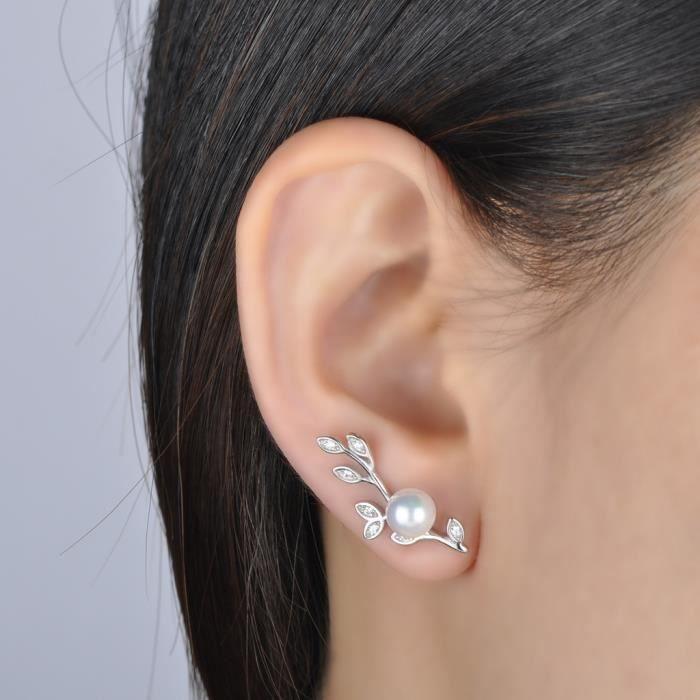 Infinite U Boucle doreille femme en argent 925 la feuille orné perle et cristal pour femme