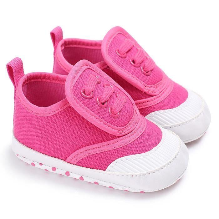 BOTTE Chaussures bébé garçon fille nouveau-né crèche chaussures à semelle souple@Rose rouge PEaAki2R