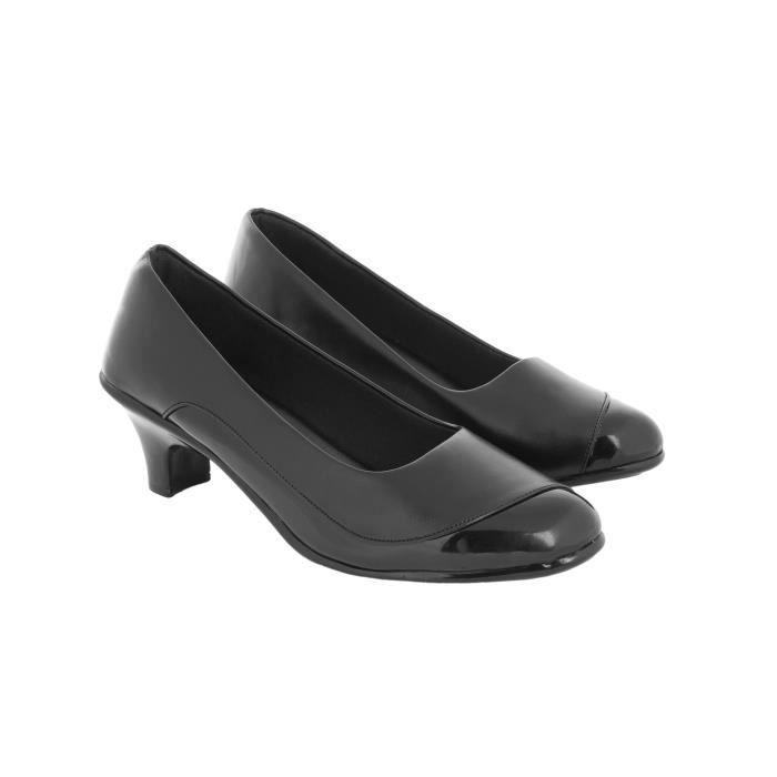 femmes en cuir véritable talon chaton noir slip-on bellerians pour Z09MN Taille-40