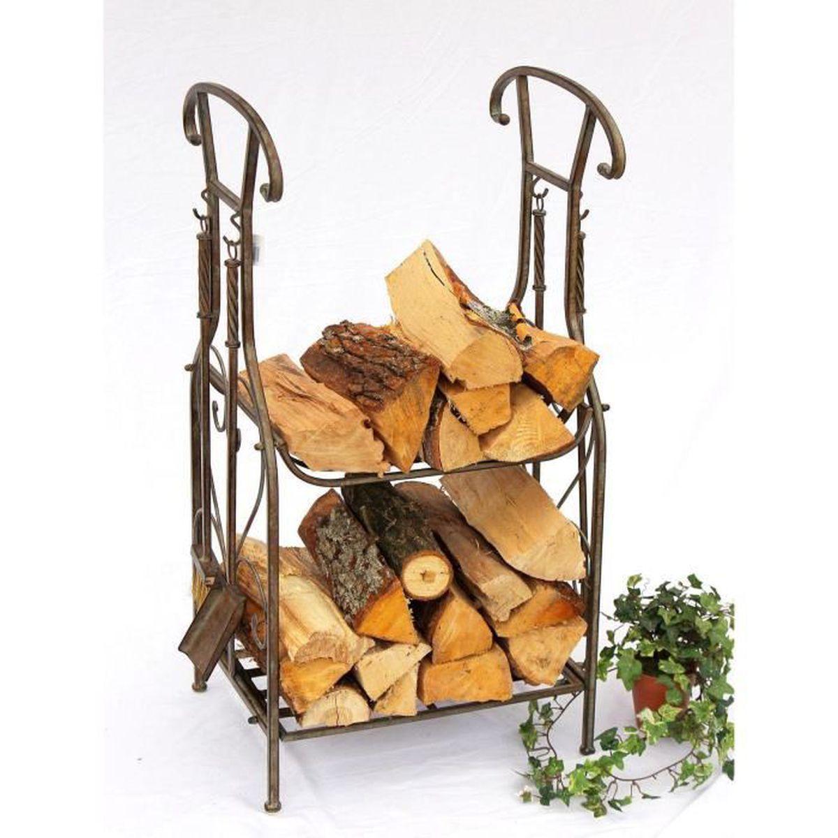 dandibo etagère bois de cheminée avec ustensiles pour cheminée