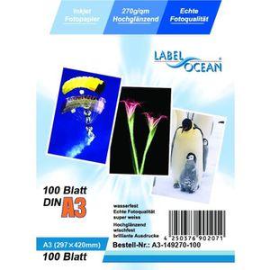 PAPIER PHOTO LabelOcean - 100 Feuilles Papier Photo A3 Premium