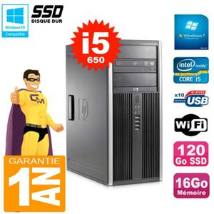 UNITÉ CENTRALE + ÉCRAN PC HP 8100 Tour Core i5-650 RAM 16Go SSD 120Go Gra