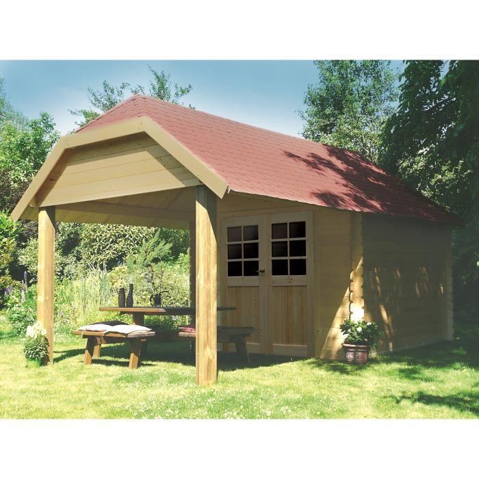 En bois, pin du nord certifié, d'une épaisseur de 28mm - Dimensions : 298x298+265cm - Surface : 8,88m².ABRI DE JARDIN - CHALET