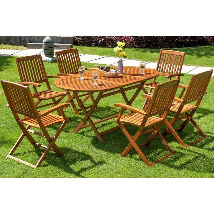 Salon de jardin Boston 1 Table et 6 Chaises en bois d\'acacia mobilier  terrasse