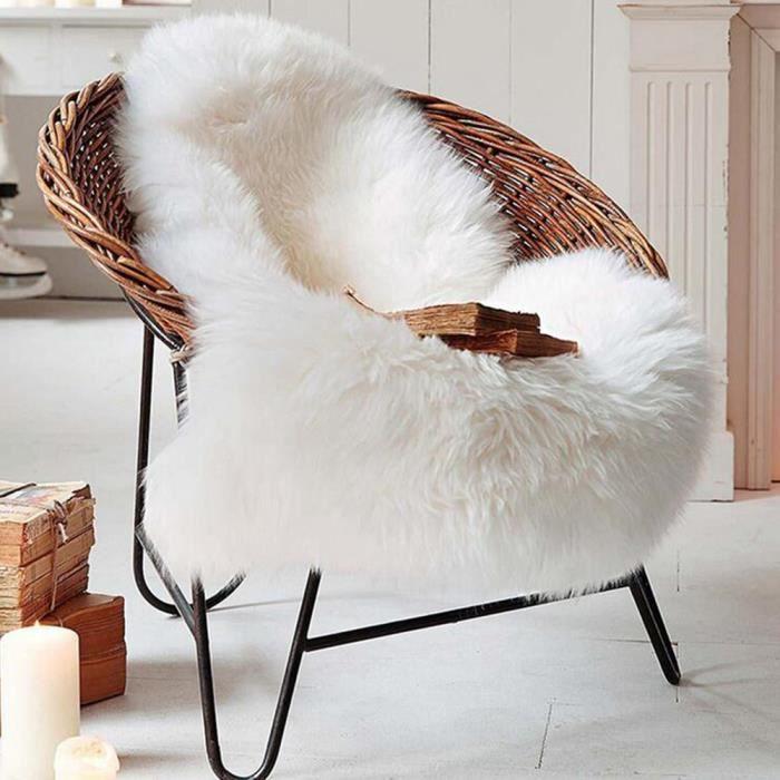 blanc 6090cm tapis peau de mouton sige couverture de chaise tapis plaine faux fourrure plaine chambre chaude - Tapis Peau De Mouton