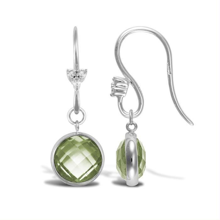 Jewelco London Dames Or blanc 18k 0.05ct Diamant 2.55ct Amethyste laissez tomber des boucles doreilles
