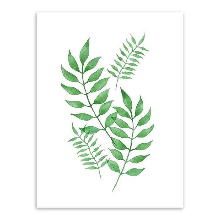 peinture de plante verte pour la decoration murale type 4 achat vente peinture a l 39 huile. Black Bedroom Furniture Sets. Home Design Ideas