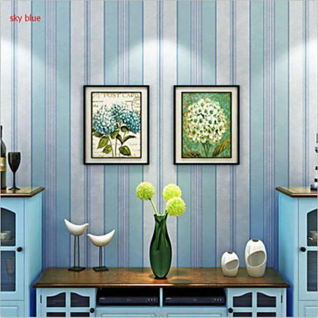 papier peint mural intiss rayures verticales de style moderne bleu ciel with papier peint rayure. Black Bedroom Furniture Sets. Home Design Ideas