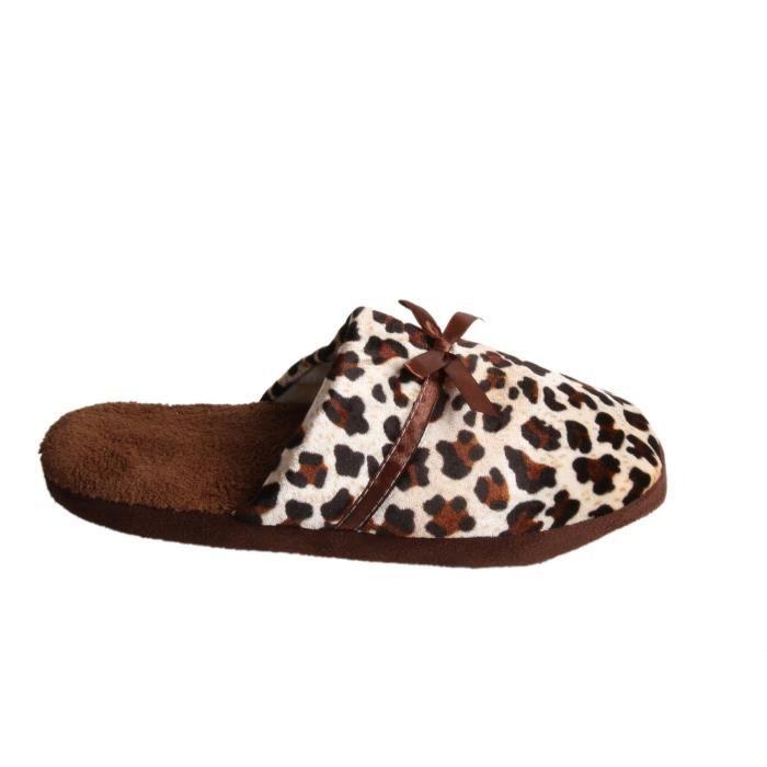 Chaussons bicolore marron et léopard avec noeud