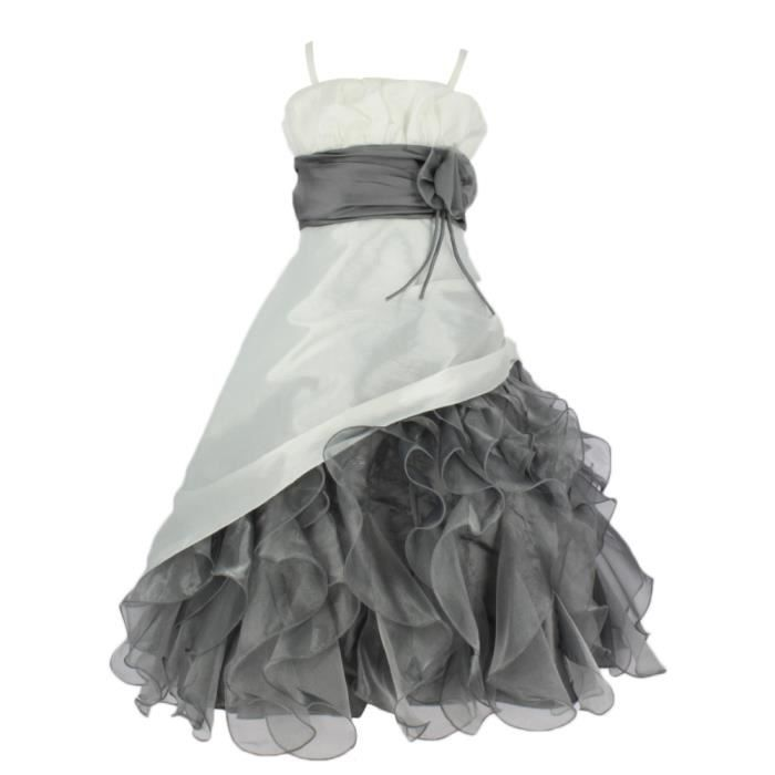 Robe de ceremonie fille rose et gris