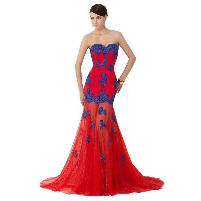 355352c7cc3 Robe de soirée-bal longue traîne bustier sirène taffetas dentelle tulle dos  nu transparent broderie haute couture pas cher-Rouge