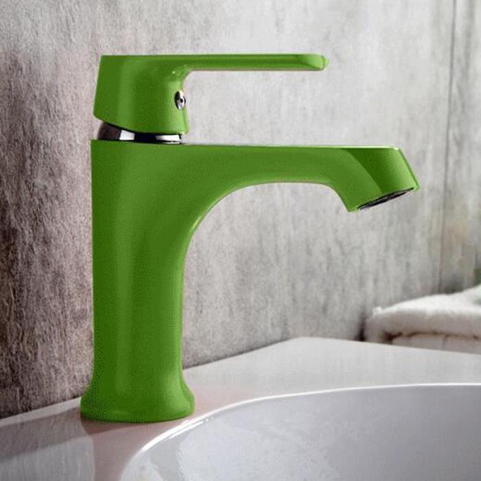 Blanc Orange vert Argent Robinet Mitigeur lavabo cascade Robinet couleureux  de salle de bain de cuisine style moderne