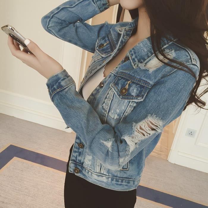 veste femme courte en denim jeans effet d chir manche. Black Bedroom Furniture Sets. Home Design Ideas