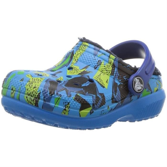 sandales / nu pieds kid's classic fuzz lined graphic clog filles crocs 204817 R90aoOgT6g