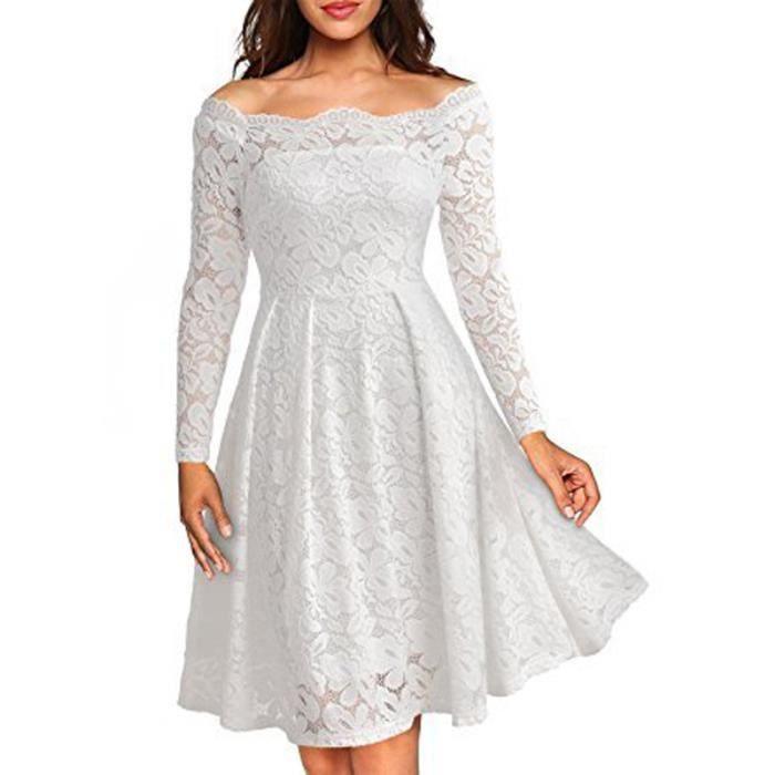 ee29b84ed36 Robe femmes manches longues sans bretelles sexy en dentelle Blanc SIMPLE  FLAVOR