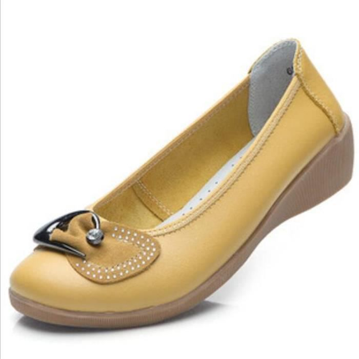 Chaussures Femme Cuir Classique Comfortable Chaussure XFP-XZ047Jaune36 NEpTINZ