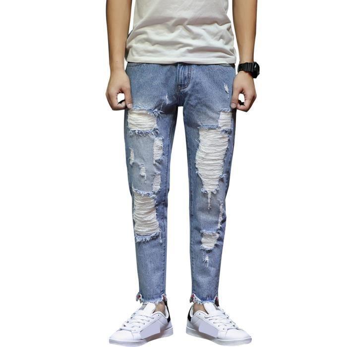 10cebebeb16 Jean troue homme slim fit 2018 Mode Jeans déchirés droit pour homme ...