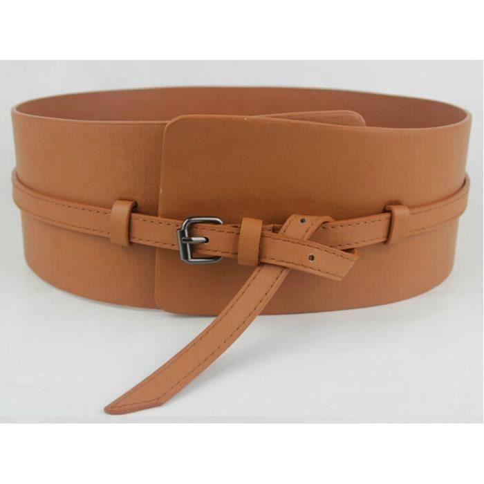 24734888e8a0 Haute qualité de la mode punk double usage ultra large système de requête  courbée cummerbund femme ceinture large coutures ceinture
