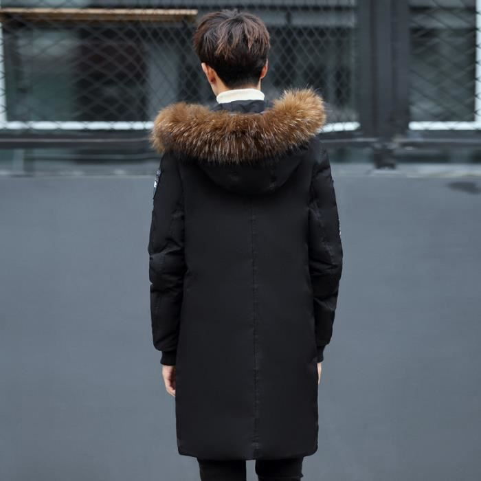 À Kaki Fausse Fourrure bleu Hiver Doudoune Vêtement Masculin Col Epaississant Longue noir Homme Capuche De Noir En w8xI6q