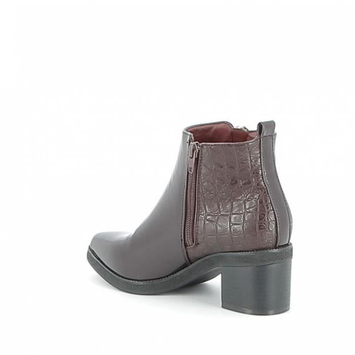 Boots vernie bi-matière - Bordeaux - 41