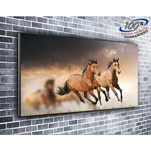 TABLEAU - TOILE Au galop chevaux Nature toile impression photo pan