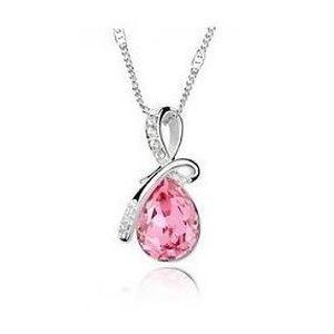 af66727ae4561 SAUTOIR ET COLLIER Pendentif Larme Cristal rose style swarovski Avec