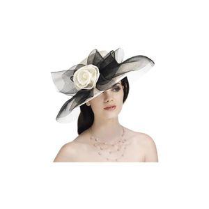 307502fcdf02f Capeline en crin et en sisal pour femme - Noir/… Blanc - Achat ...