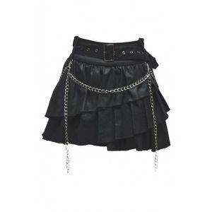 90b0f0f085776d Jupe courte gothique chaîne goth... Noir - Achat / Vente jupe ...
