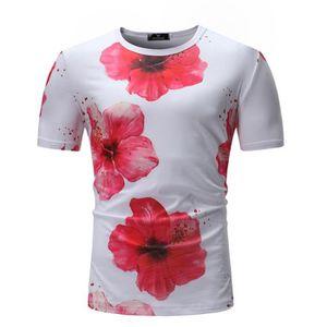 12e64d2fb277 T-SHIRT T-shirts Homme Imprimes Fleurs de Pecher Manches C