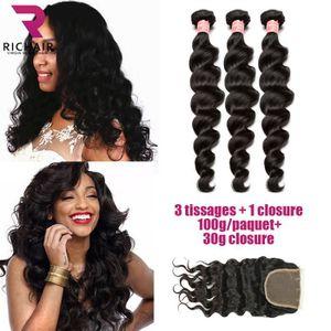 PERRUQUE - POSTICHE lot 3 tissage bresilien boucle +closure cheveux na