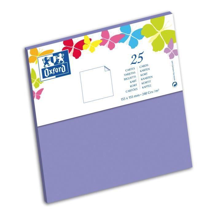 OXFORD 25 Cartes - 15,5 cm x 15,5 cm x 0,7 cm - 240g - Violet
