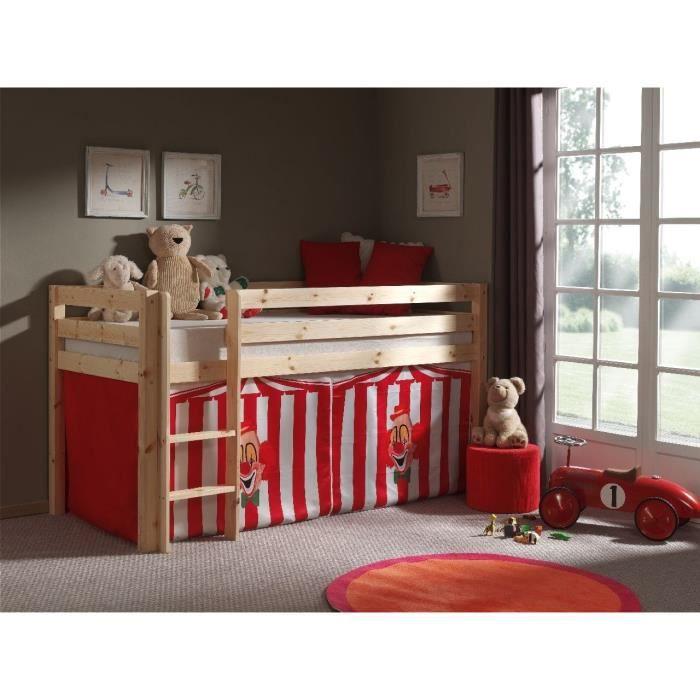 Composition PINO avec lit mezzanine + housse Chucky - Conforme à la norme EN 747 - Coloris : natureLIT MEZZANINE