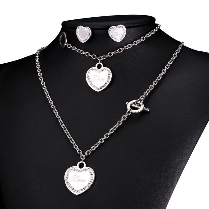 U7 Parure 3 Pièces-Médaille Coeur-Acier INOX-Motif Love-Collier Bracelet Boucles dOreilles-Chic Accessoire-Bijoux Cadeau pour Femme