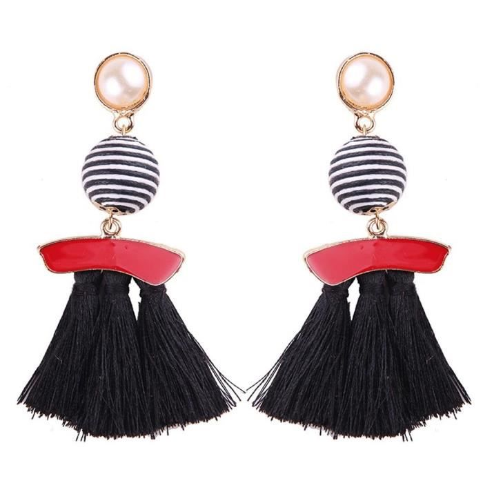 Womens Fashion Bohemian Bead Fringe Long Dangle Earrings Soriee Drop Earrings Beaded Tassel Ear Dr U7ZY7