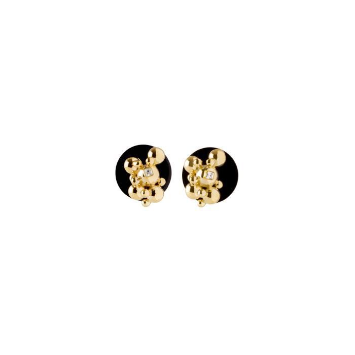Womens 24ct Gold Plated Square Clear Crystals Eos Petite Earrings T0EJH