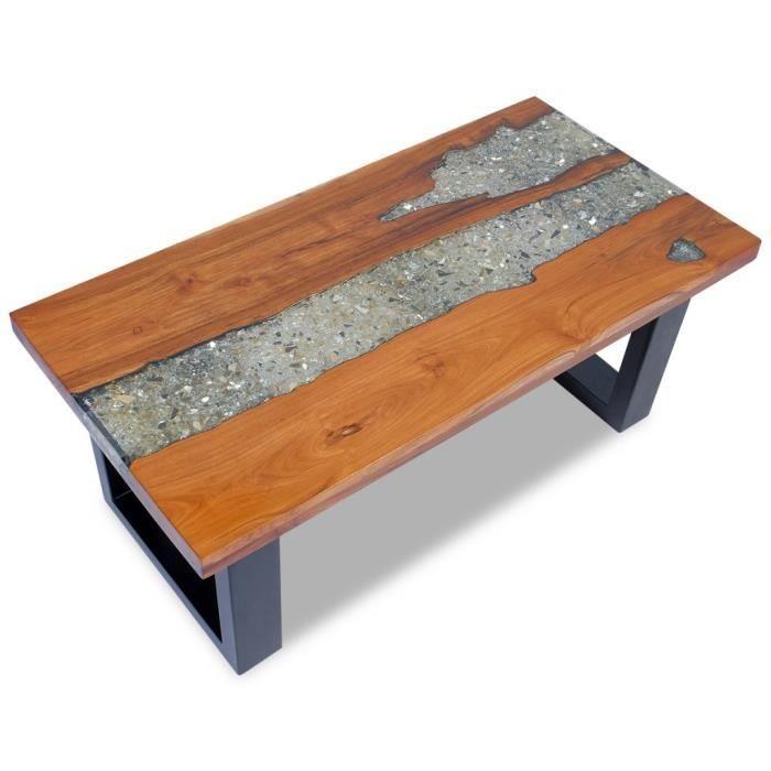 magnifique table basse teck resine 100 x 50 cm achat vente table basse magnifique table. Black Bedroom Furniture Sets. Home Design Ideas