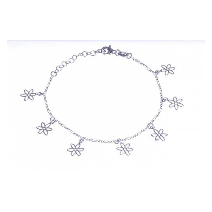 Bracelet argent rhodié - fleurs breloques - 17+3cm Argent