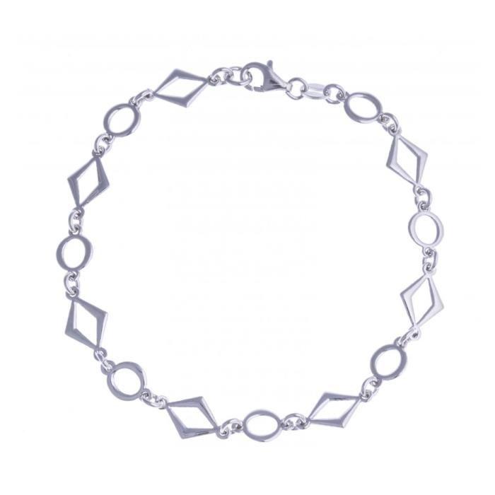 Bracelet argent rhodié - losanges et ronds - 19,5cm Argent
